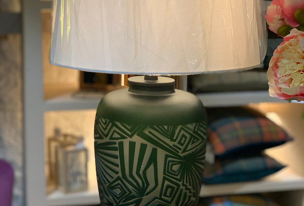 Green Glass Lamp and Shade