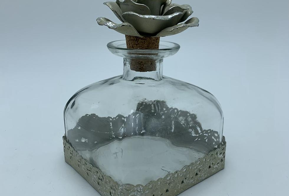 Short Square Bottle With Flower Stopper