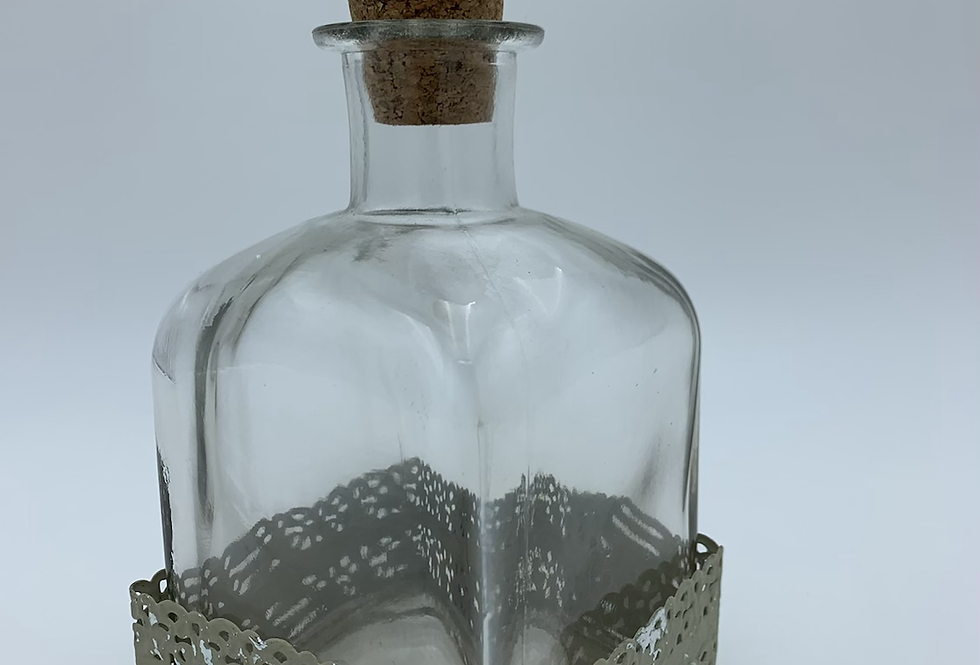 Square Glass Bottle With Flower Stopper