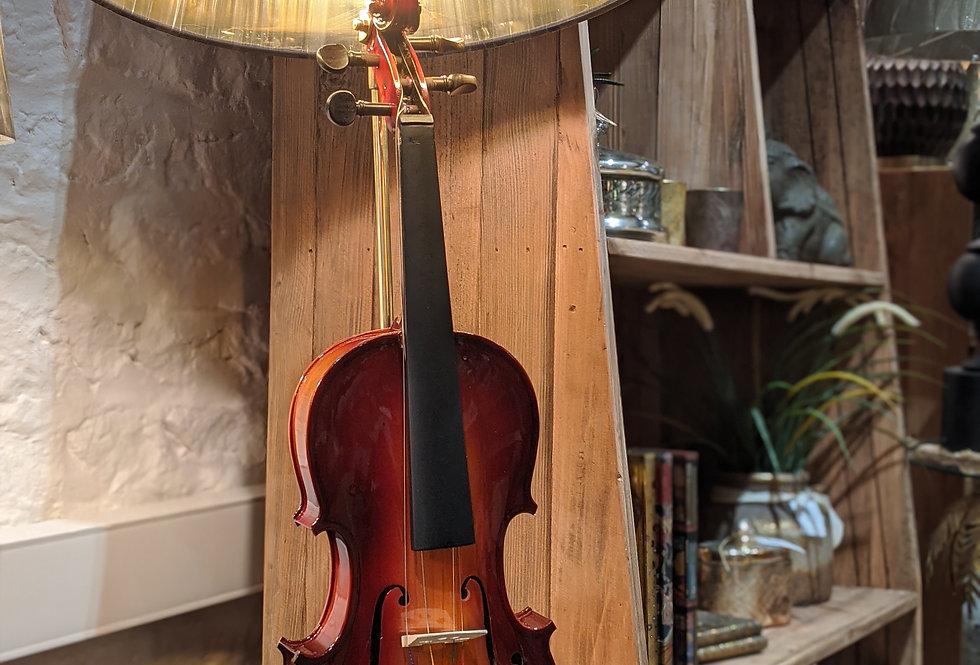 Violin Table Lamp With Black Shade