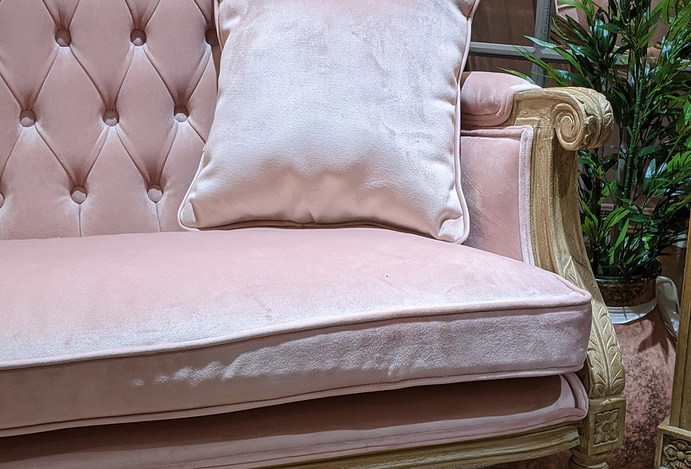 Light Pink Velvet and Carved Wood Sofa