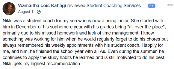 Great review from paren of student who got straight As after coaching