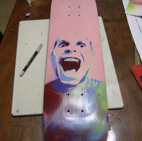 Self Portrait, spray paint on skateboard, 2007