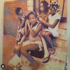 """stencil of a Martha Cooper photo for """"Martha Cooper Remix"""" at Carmichael Gallery, LA 2011"""
