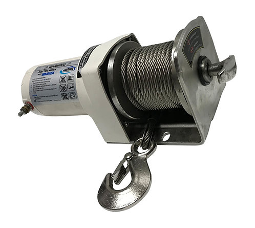 EMD2000SS-ST Side Terminal Stainless Steel Davit Winch, Remote, Cable and Hook