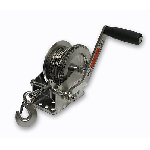 EBW1400SSC Stainless Steel Hand Winch, Hand Brake with SS Cable and SS Hook