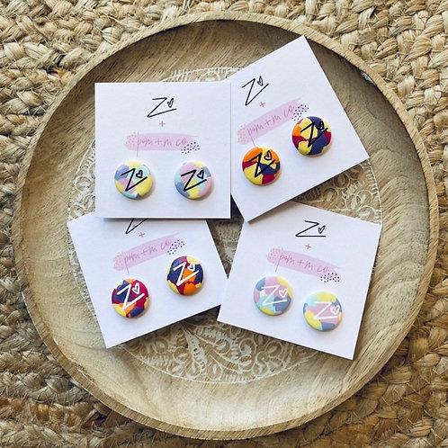 Handmade ZF earrings: Pops of Mack + Mill