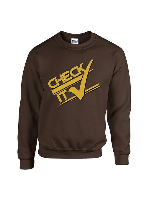 Brown Retro Check it Sweater