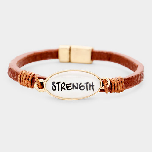 Strength Oval Leather Magnetic Bracelet