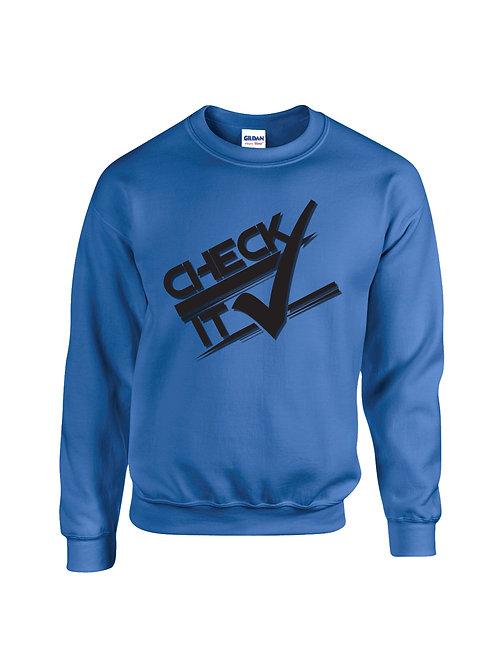 Blue Retro Check it Sweater