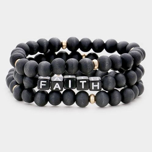 3PCS - FAITH Wood Stretch Bracelet