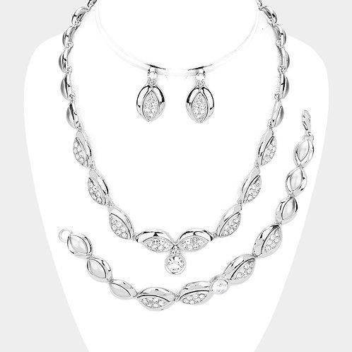 3PCS - Crystal Rhinestone Marquise Necklace