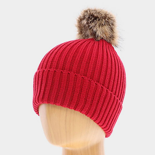 Soft Knit Pom Pom Beanie Hat