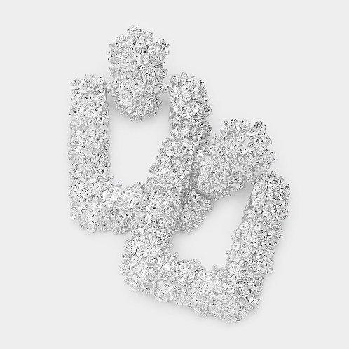 Textured Metal Open Rectangle Earrings