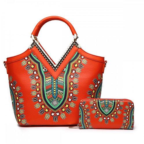 Orange Print Handbag & Wallet