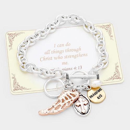 """""""Phil 4:13"""" Toggle Link Bracelet"""