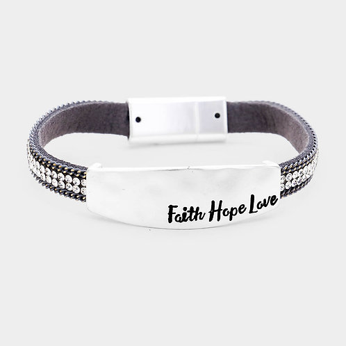 'Faith Hope Love' Crystal Leather Bracelet