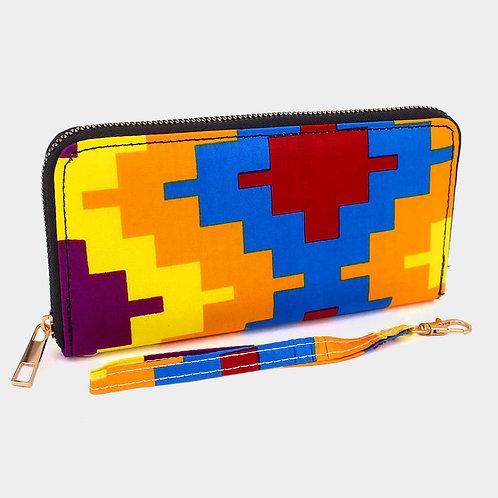 Double Zipper Abstract Pattern Wallet