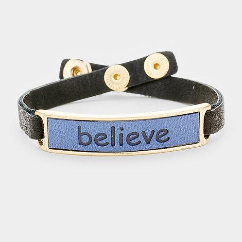 """Believe"" Leather Snap Button Bracelet"