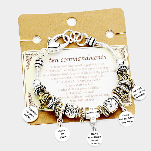 """Ten Commandments"" Multi Bead Charms Bracelet"
