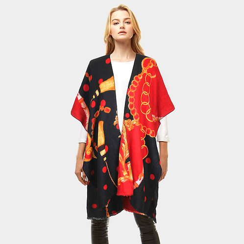 Pattern Print Cashmere Feel Shawl Poncho
