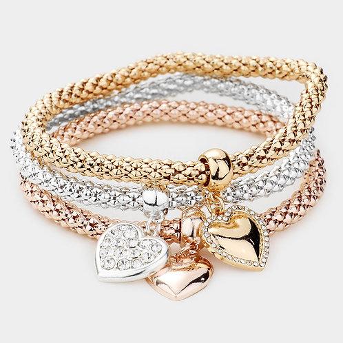 3PCS - Rhinestone Heart Stretch Bracelet