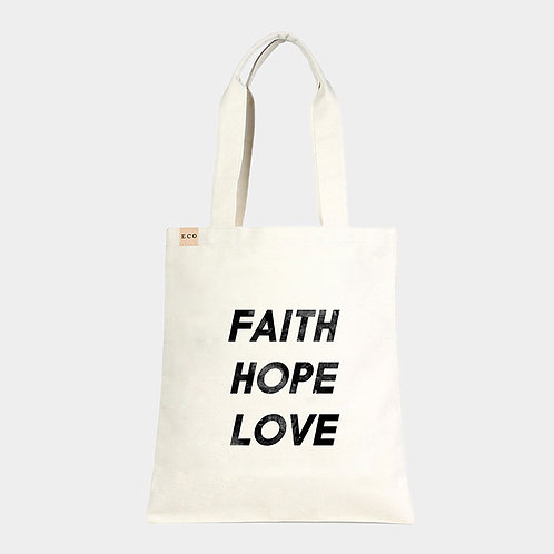 'Faith Hope Love' Tote Bag with Pouch