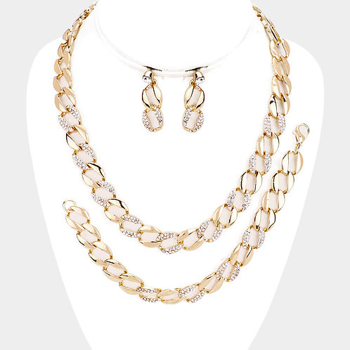 Crystal Rhinestone Pave Link Necklace