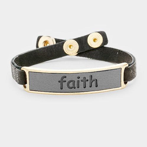 """Faith"" Leather Snap Button Bracelet"