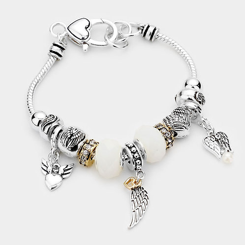 Angel Charm Multi Bead Bracelet
