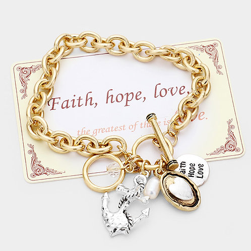 """Faith Love Hope"" Toggle Bracelet"