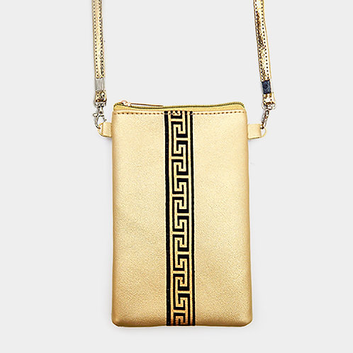 Greek Pattern Cell Phone Crossbody Bag