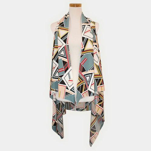 Geometric Pattern Scarf Vest