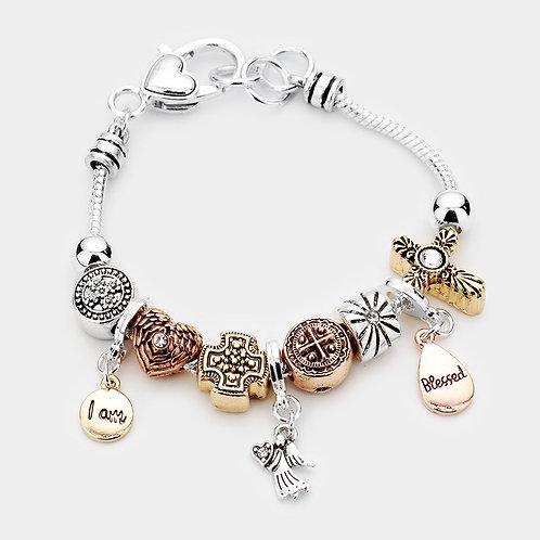 I'm Blessed Charm Multi Bead Bracelet