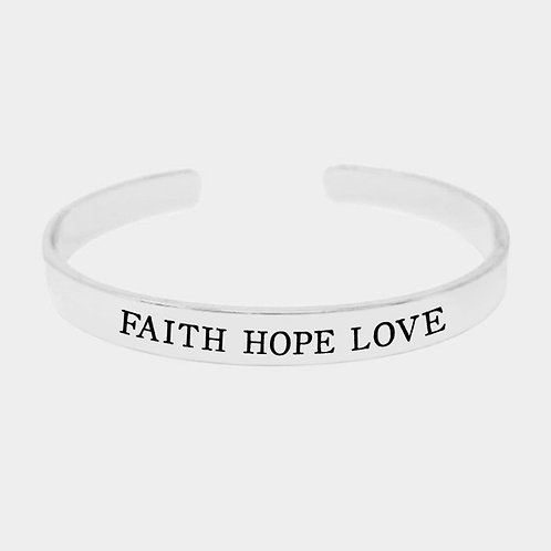 """Faith Hope Love"" Cuff Bracelet"