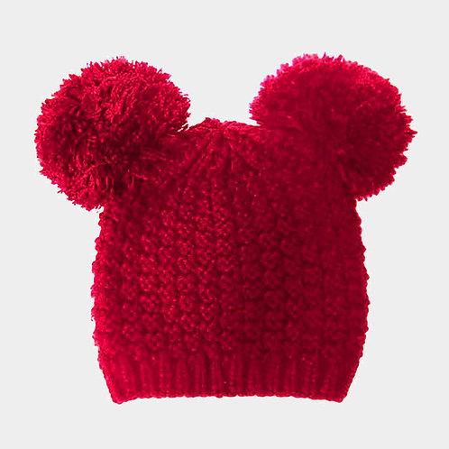 Double Pom Pom Knit Beanie Hat