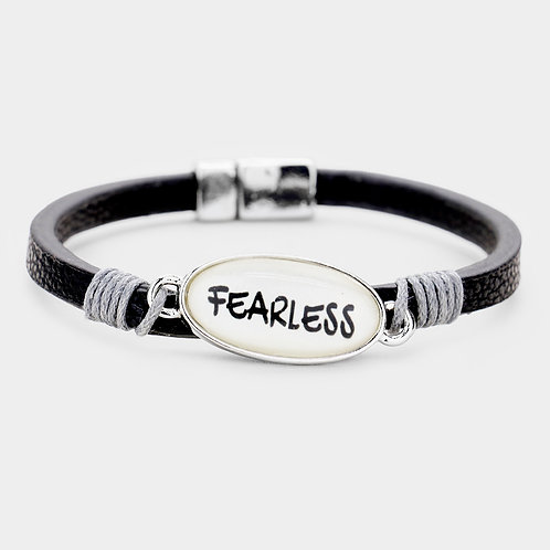 Fearless Oval Leather Magnetic Bracelet
