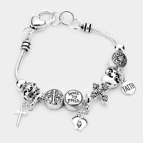 Walk By Faith Charm Multi Bead Bracelet