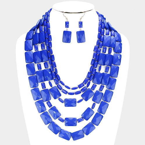 Multi Strand Resin Rectangle Bead Necklace