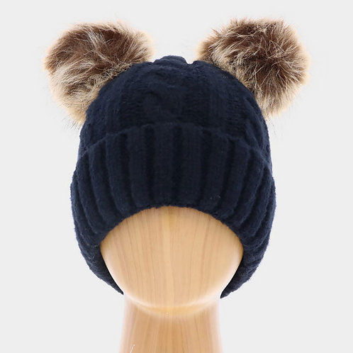 Two Pom Pom Cuffed Knitted Beanie Hat
