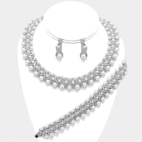 3-Row Pearl Crystal Necklace