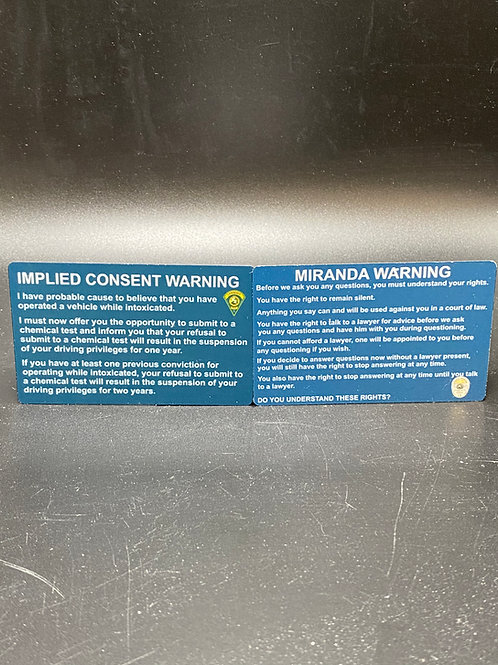 Miranda and Implied Consent Card