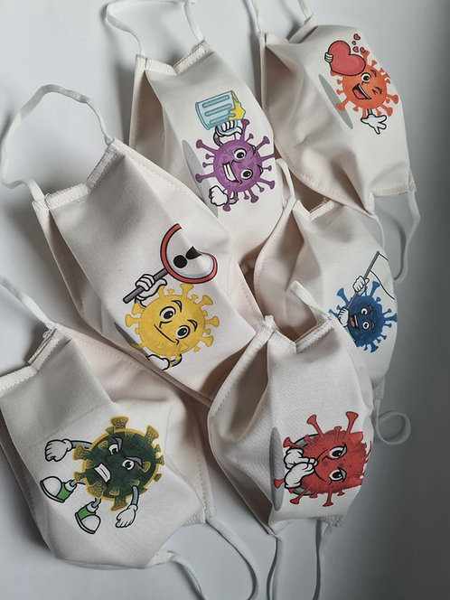 Lot de 6 Masques tissu lavable à usage non sanitaire cat1