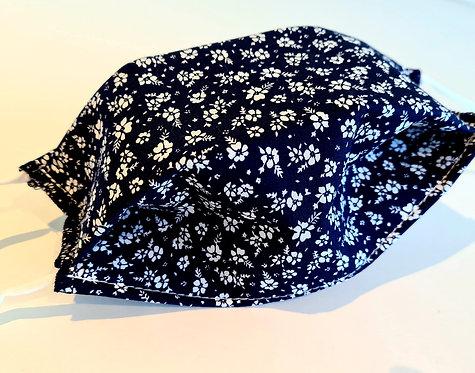 Masque tissu lavable à usage non sanitaire cat1fleur bleue