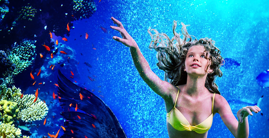 Girl mermaid dive underwater through coral fishes.jpg