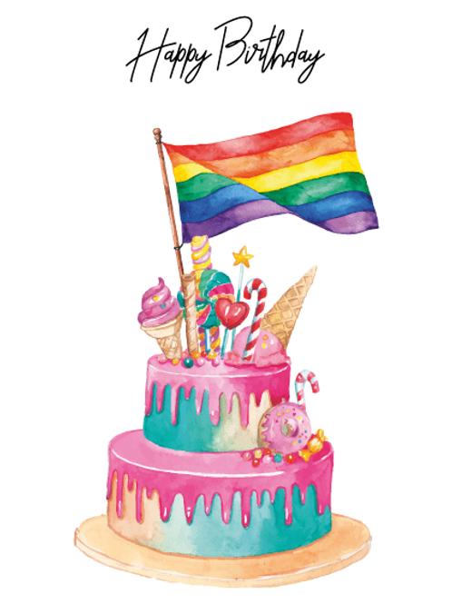 Flag Birthday Cake Card