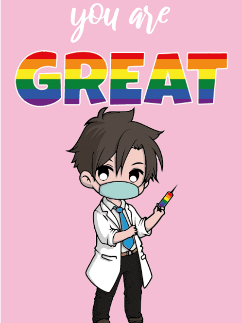 You're Great LGBTQ+ Male Nurse Card