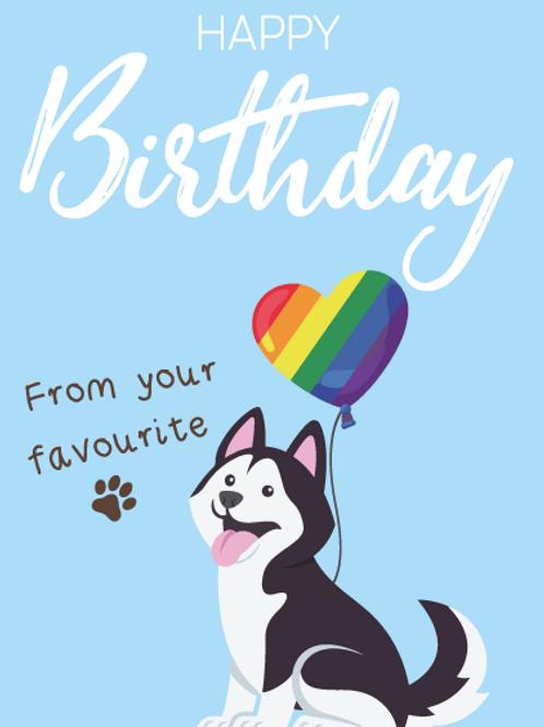 Husky Dog Birthday Card