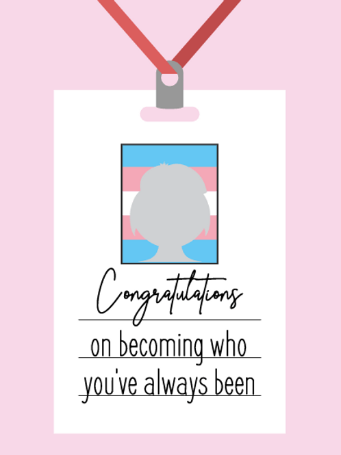Pink Congratulations ID Card