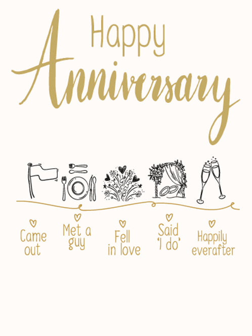 Mr & Mr Anniversary Timeline Card